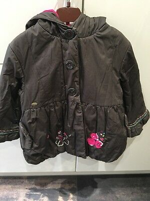 Girls Catimini Brown Coat Age 4 Excellent Condition