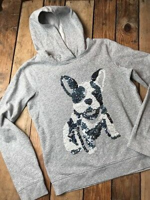 Old Navy Girl's French Bulldog Sequined Hoodie Gray Blue White Sz XL (14) AA 28