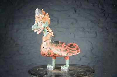 Decorative Wooden Hand Carved Asian Painted Dragon - Beautiful Display Piece