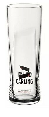 2 X Branded Carling Embossed Pint Glasses 20oz CE Toughened & Nucleated New