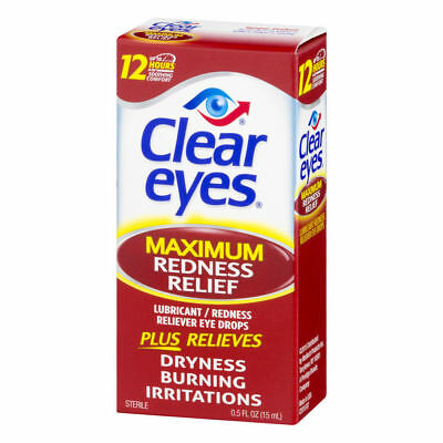 Clear Eyes Maximum Strength Redness Relief Eye Drops, 15ml, Exp 09/19