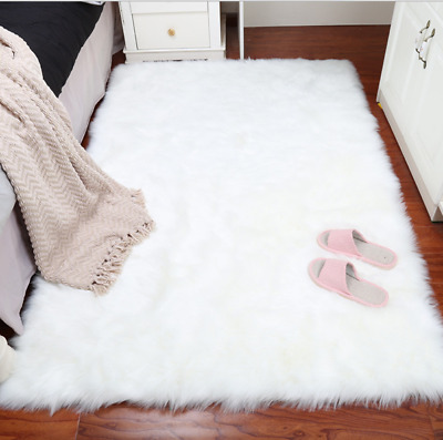 EXTRA PLUSH soft fluffy bedroom mat fleece rugs faux fur antiskid ...