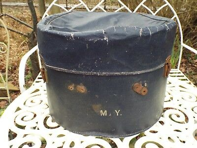 Large Antique Edwardian Hat Box Initialed M. Y. Storage Display Worn Condition