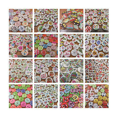 Wooden Buttons Mixed Design Packs Scrapbook Sewing Cardmaking Vintage