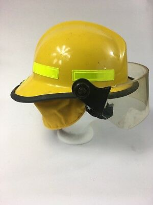CHIEFTAN / FIRE-DEX YELLOW 911 Structural FIRE FIGHTERS HELMET & FACE SHIELD