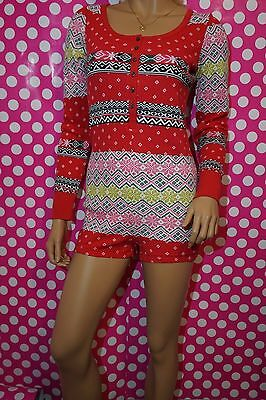 ecb2a3d9ea Victoria s Secret Fireside Cotton Thermal Romper Red Pajama Fair Isle S L