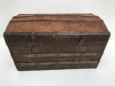 Large antique metal and wood bound domed top trunk - Great Character and Look!