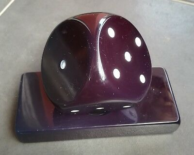 Unique Rare Cherry Amber Bakelit Bakelite Blue Inside Dice Wurfel wh Stand 573gr