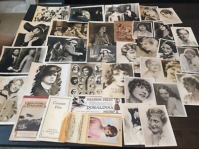 Large Lot Of Silent Film Ephemera And Photos Publicity Items Clara Bow+ More