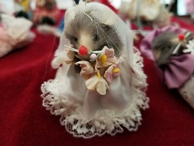 Rare Lot of 14 Vintage Original Real Fur Mice w/ Clothing ~ W.Germany 1960's