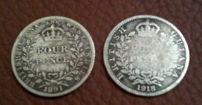 1891 British Guiana & West Indies Four Pence Silver Coin Queen Victoria + 1918