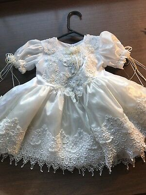 VINTAGE 80s 90s Arodi's Collection Infant Baby Lacey, RUFFLES Dress White Size 1