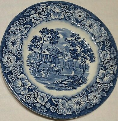LIBERTY BLUE HISTORIC COLONIAL plate MONTICELLO made in england 6""