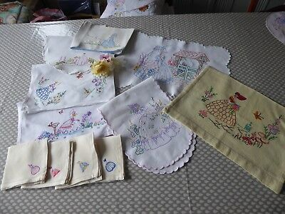 Vintage Hand Embroidered Linens Set Of11 Pieces  With Beautiful Crinoline Ladies