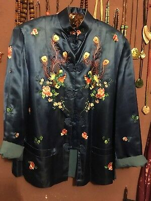 Vintage 1970s Embroidered Chinese Silk Blouse Jacket Uk Medium Peacock Oriental