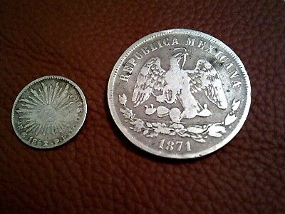 RARE SILVER COINS LOT MEXICO 1852 Go 5/4 Four Reales + 1871-ZS II  50 CENTAVOS