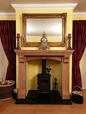 Fire Surround, Solid Oak  fireplace surround with corbels - made to order.