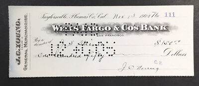 Taylorsville, CA - Wells, Fargo & Co's Bank - John C. Young - Bank Check - 1905