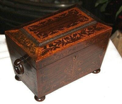 A Lovely Antique Victorian Rosewood & Maple Inlaid Tea Caddy, Keepsake Jewellery