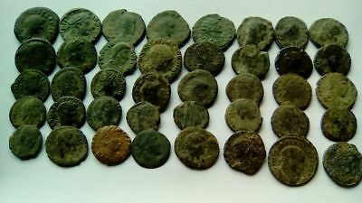 LOT OF 40 ANCIENT BRONZE ROMAN COINS UNCLEANED Ae3-Ae4