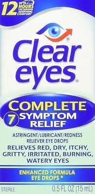 Clear Eyes Complete 7 Symptom Relief Eye Drops, 0.5 Fl. Oz, Exp 10/18