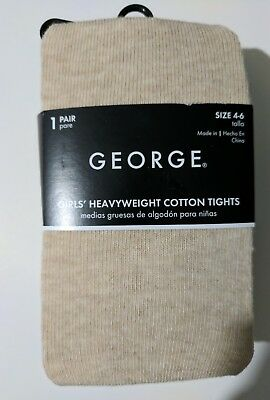 Girls George oatmeal colored Heavyweight cotton tights size 4-6 NEW