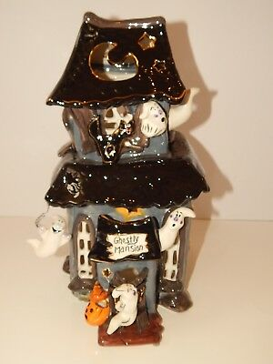 Blue Sky Clayworks GHOSTLY MANSION Halloween House Votive Holder Decoration