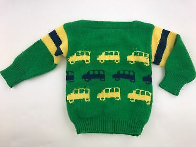 Vintage Boys Kids Bus Sweater Green Toddler Child's Acrylic Knit 2/2T 70's 80's