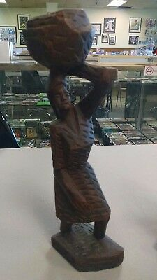 Vtg African Wood Statue Woman Carrying Basket on Head Hand Carved art Tribal d4