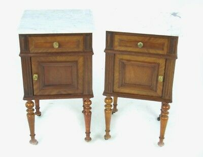 Antique Walnut Nightstands, Walnut Bedside Tables, Marble Top Tables, B1127