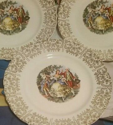 Vintage W.S. George Colonial Couple 22K Gold China Dinner Plates Set Of 3 MINT