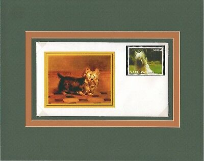 Skye Terrier dog custom matted handcrafted one-of-a kind cover stamp cachet