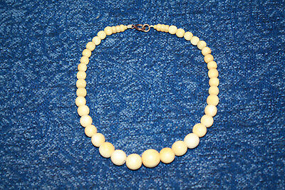 19th Century Chinese Finely Carved Graduated Beaded Bone Necklace Bovine