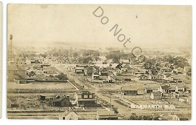 RPPC Aerial View from Railroad MARMARTH ND Slope County Real Photo Postcard