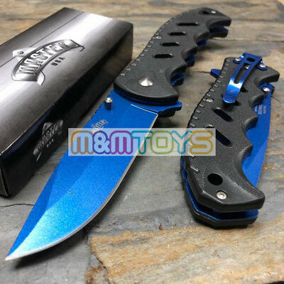 MASTER USA - Blue Coated Blade Rescue Tactical Pocket Folding Knife MU-A046BL