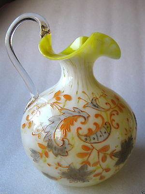 Yellow Art Glass Handblown Jug Pitcher Vase