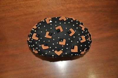 Lilly Dache Dachette Vintage Beret Slouch Hat Black and Brown Beaded