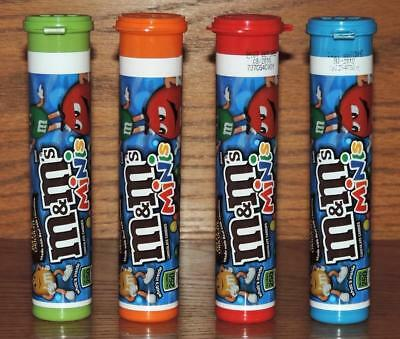 "NM 2017 (4) M&M's MINIS EMPTY 5-5/8""h STORAGE CANDY TUBES-RED BLUE ORANGE GREEN"
