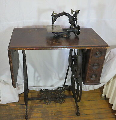 Antique Willcox & Gibbs Sewing Machine with Cabinet and Accessories