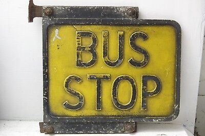 Good Quality Collectable Bus Stop Sign - Very Heavy Metal Yellow - Rare - L@@k