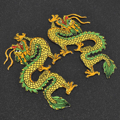 1 Pair Embroidery Chinese Dragon Iron On Patch Clothes Bag Jeans Applique DIY