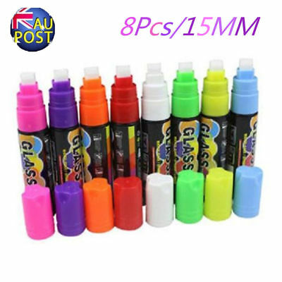 8pcs 15mm Liquid Chalk Marker Pens LED Writing Board Glass Art Pen Window MN