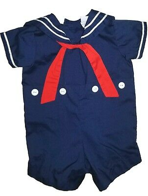 Bryan Navy Blue Vintage Sailor Outfit Romper for Baby Boys Size 3-6M