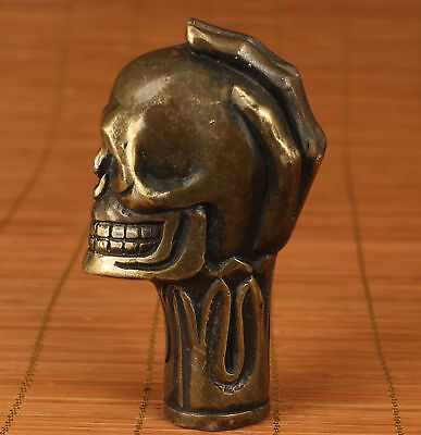 Chinese Old Bronze Handmade Carved Skull Statue Cane Walking Stick Head