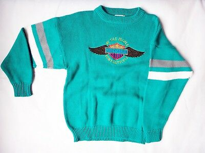 Vintage 1980s 1970s Harley Davidson embroidered medium green sweater patch shirt