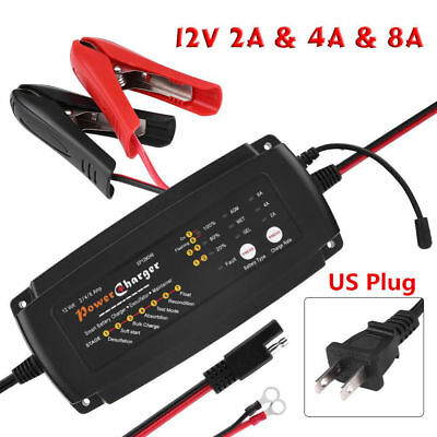 12V 2/4/8A 7-Stage 3-in-1 Smart Waterproof Battery Charger for Car Motorcycle