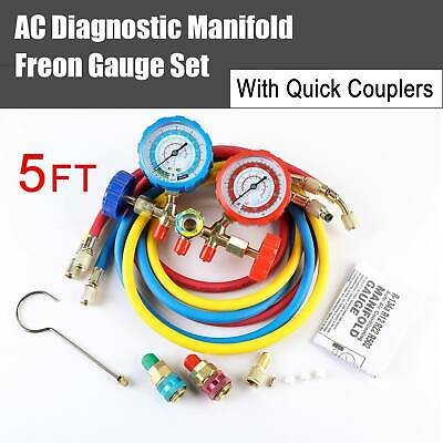 """1x 4 Way AC Manifold Gauge Set R410a R22 R134a w/Hoses+ Coupler Adapters +1/2"""" A"""