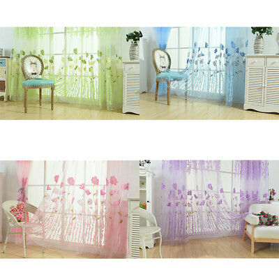 Galsang Flowers Voile Tulle Curtains Sheer Panel Drapes Door Curtain Window Room
