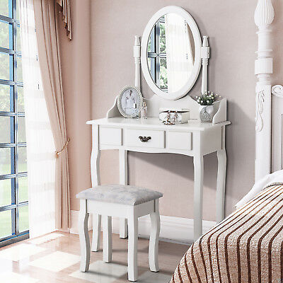 White Dressing Table and Silver Stool Set 360° Mirror Makeup Desk with 1 Drawer
