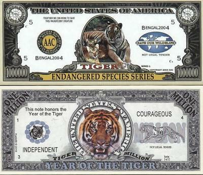 TIGER LOT ~ 2 One Million Fantasy Note Lot ~ Nice Tiger Collectible